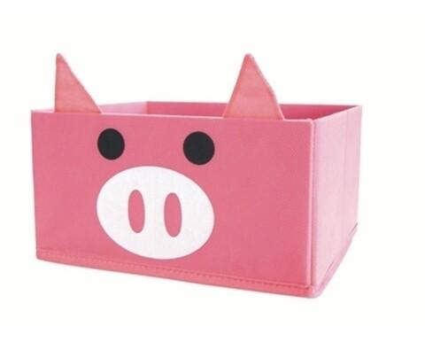 Cutie de depozitare Pig, Jocca, 19 x 19 x 22 cm, polietilena/carton, roz