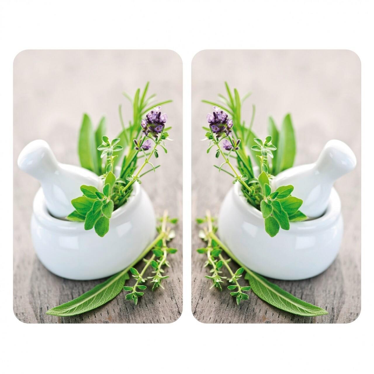 Set 2 protectii universale pentru aragaz Herb Garden, Wenko, sticla/termoplastic, 30 x 52 cm, multicolor