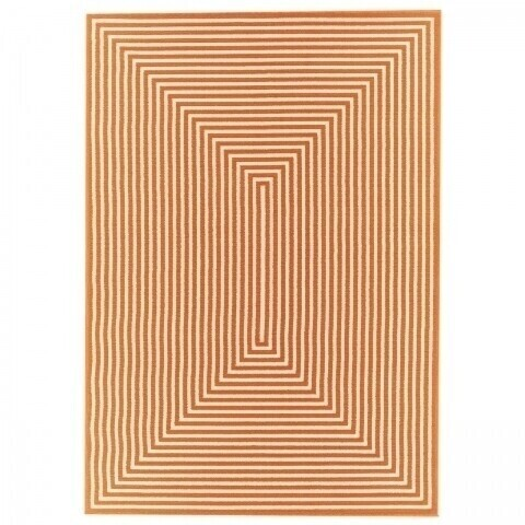 Covor indoor outdoor Braid Orange, Floorita, 133 x 190 cm, polipropilena, alb/portocaliu