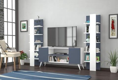 Mobilier living Raffline, 3 corpuri, 100x20x100 cm, PAL , alb/gri