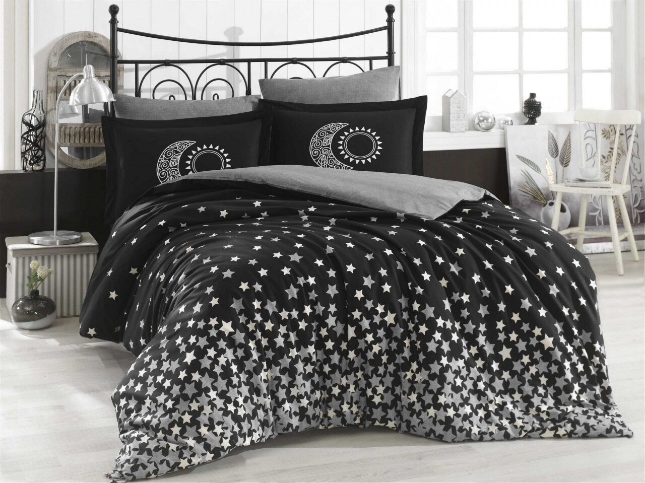 Lenjerie de pat pentru o persoana, 3 piese, 100% bumbac poplin, Hobby, Star's, alb/negru