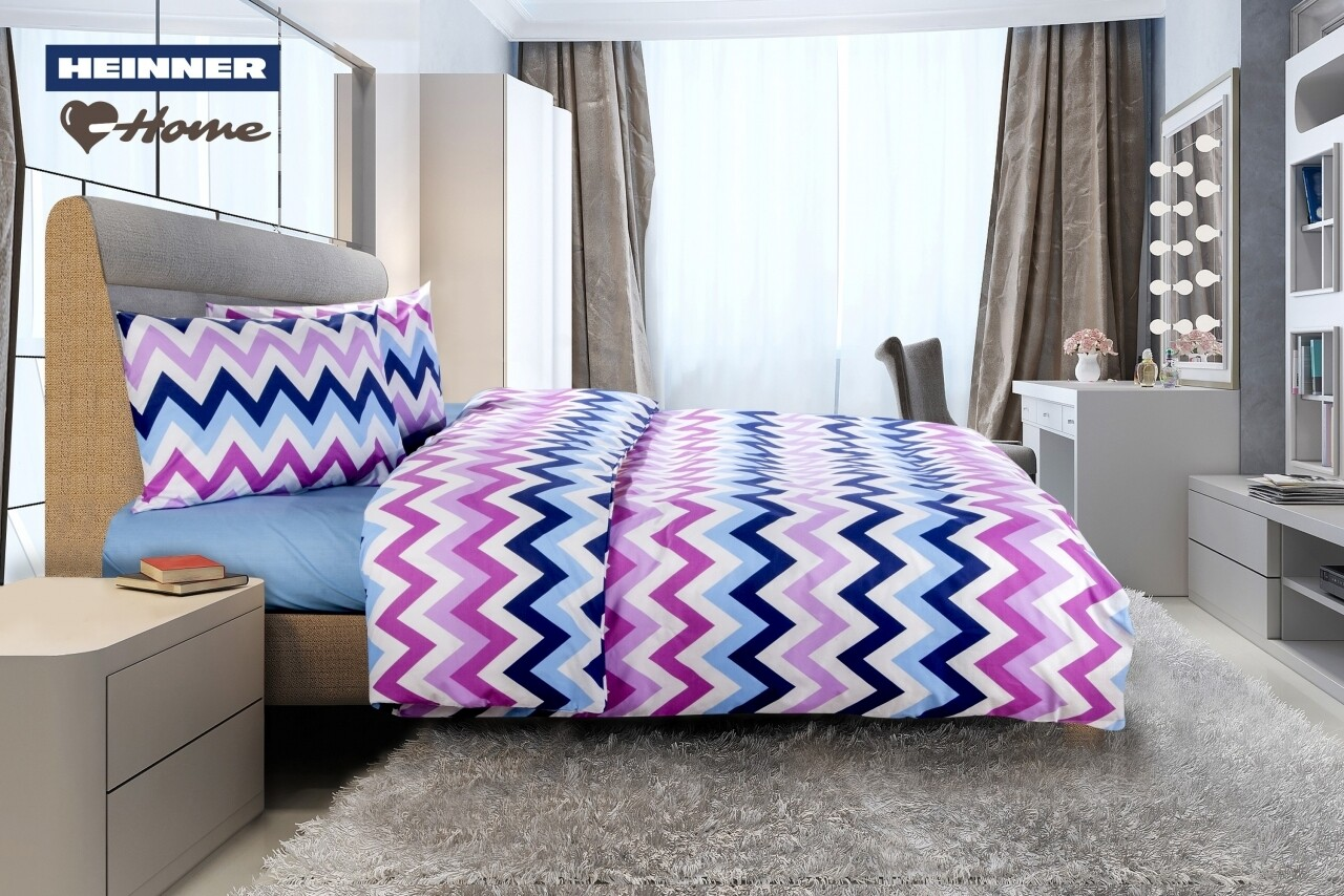 Lenjerie de pat dubla Zig Zag, Heinner Home, 4 piese,  220 x 240 cm, 100% bumbac, multicolora