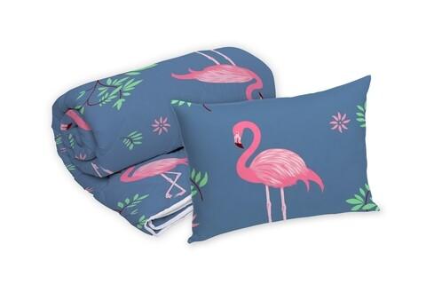 Set Alcam perna microfibra 50x70 cm si pilota matlasata 140x200 cm, Pink Flamingo
