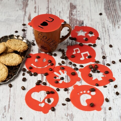 Set 8 forme decorative pentru cafea/cappuccino, Vanora, Ø8.5 cm, multicolor