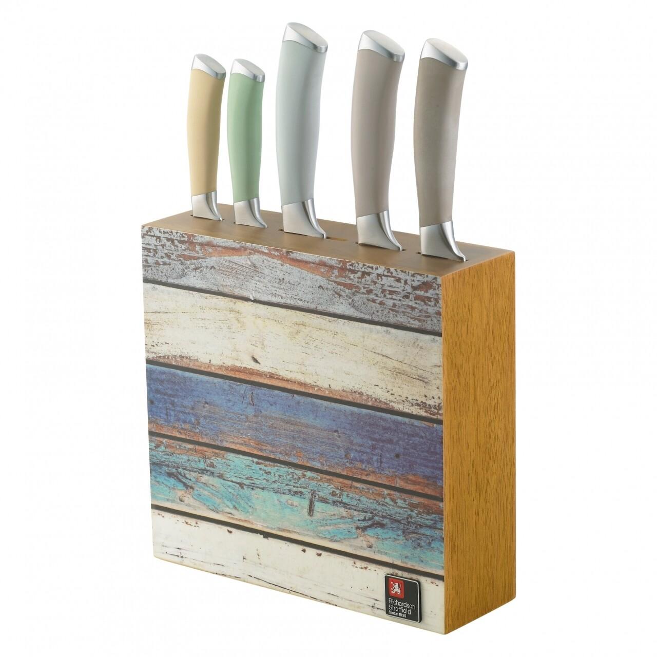 Set 5 cutite cu suport, Amefa, Coast, inox/lemn, multicolor