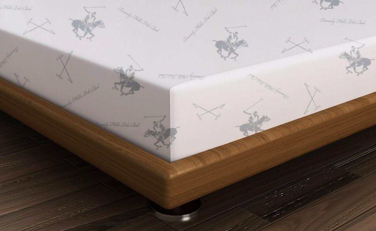Cearceaf de pat dublu BHPC 025 - Green, Beverly Hills Polo Club, 240x260 cm, 100% bumbac ranforce, alb/gri