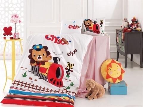 Lenjerie de pat pentru copii Train, Nazenin Home, 4 piese, 120 x 160 cm, 100% bumbac ranforce, multicolora