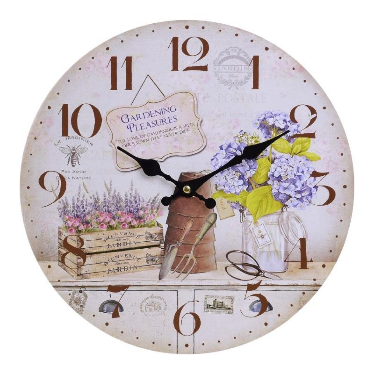 Ceas de perete Gardening Pleasures, InArt, 34X4 cm, multicolor