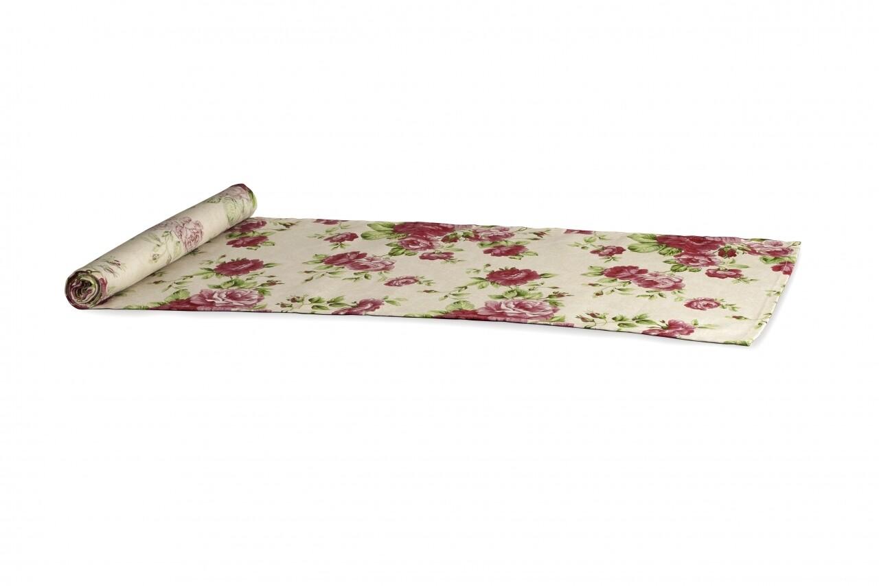 Traversa pentru masa 33x180, 100% bumbac, Pink Flower