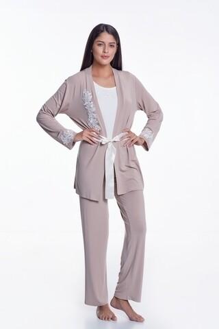 Set pijama cu pantaloni lungi si halat de casa, Luisa Moretti, LMS-1111, 100% bambus, mink, marimea 34/36 - S