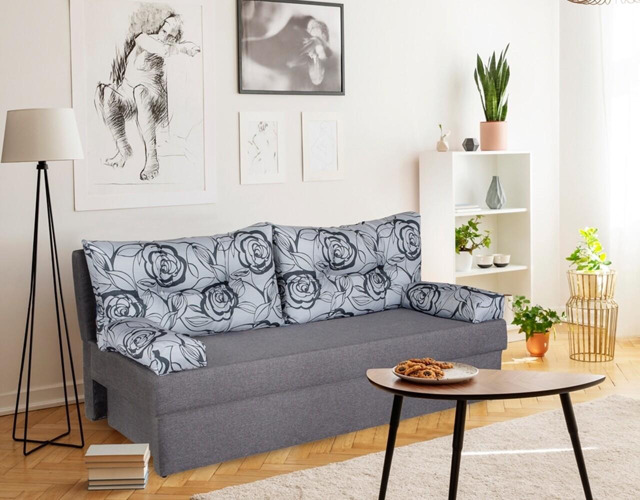 Canapea extensibila Alfi Grey 192x80x77 cm cu lada de depozitare, Flower