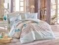 Lenjerie de pat pentru o persoana, 3 piese, 100% bumbac ranforce, Hobby, Lidia Water, verde