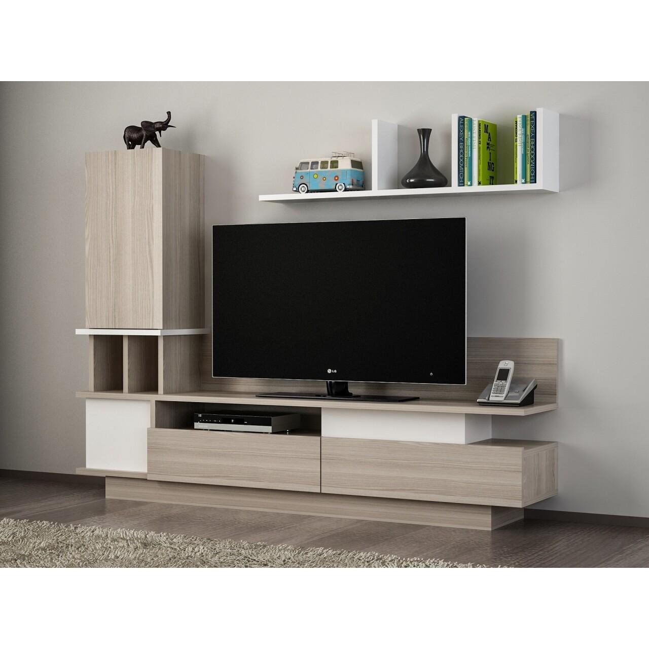 Comoda TV cu biblioteca si raft, Wooden Art, Como White Cordoba, 149x171.1x31.5 cm