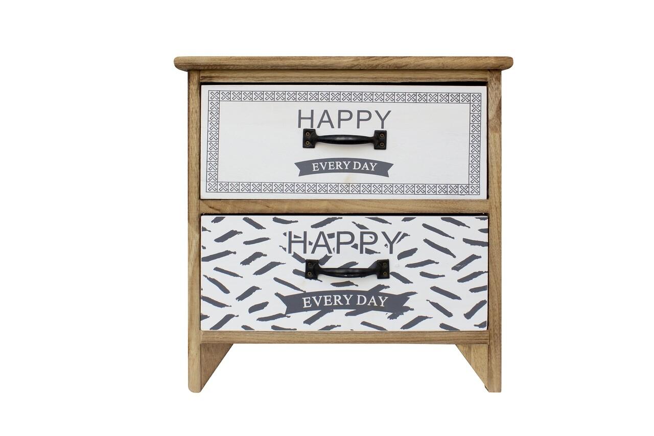 Noptiera Happy, Bedora, 2 sertare, MDF, lemn
