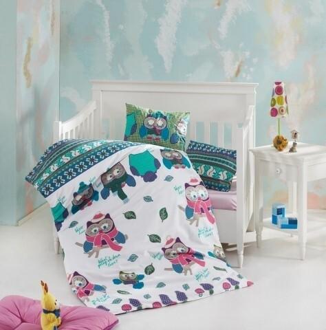 Lenjerie de pat pentru copii, 4 piese, 100% bumbac ranforce, Nazenin Home, Guky