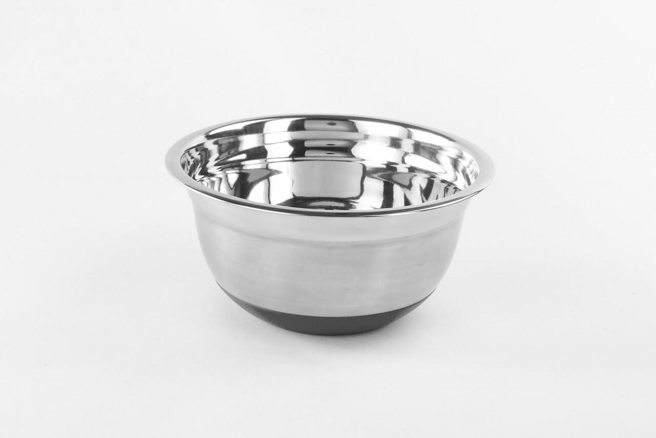 Bol Midi din inox satinat cu baza antiaderenta, Vanora, 26 cm, inox si silicon, argintiu