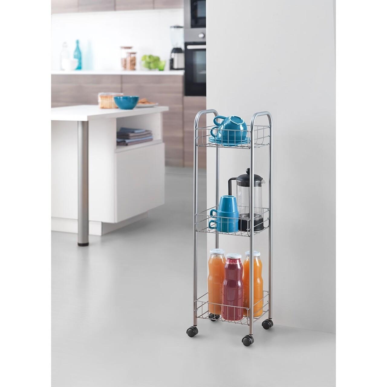 Cărucior cu 3 rafturi bucătărie/baie Metaltex Toronto