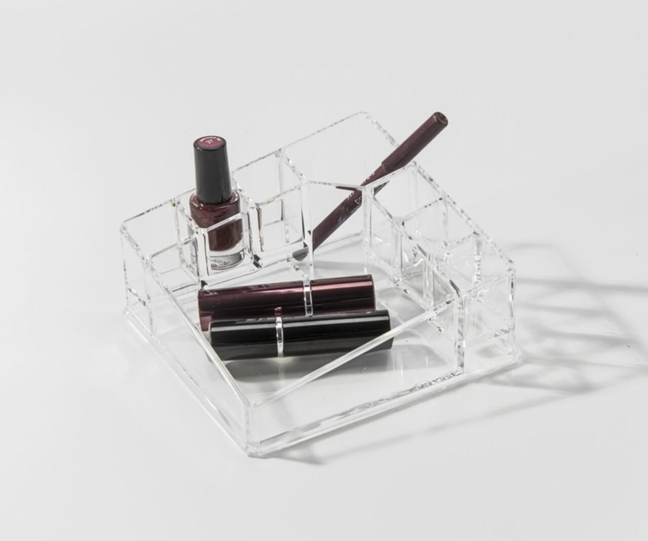 Organizator pentru cosmetice Compactor, 8 compartimente, 14x14x7.2 cm, transparent