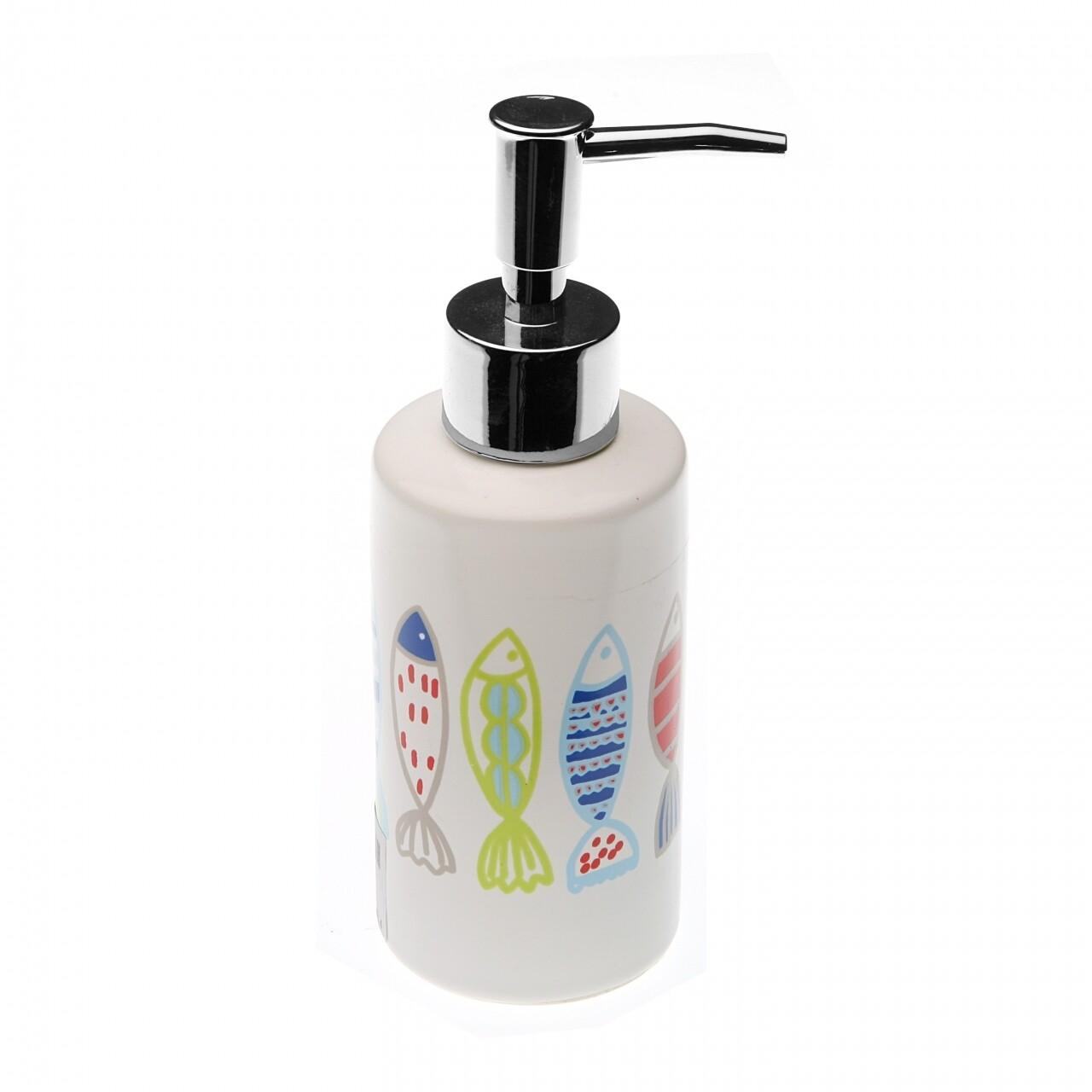 Dozator de sapun Peces, Versa, 6 x 6 x 17 cm, ceramica, multicolor