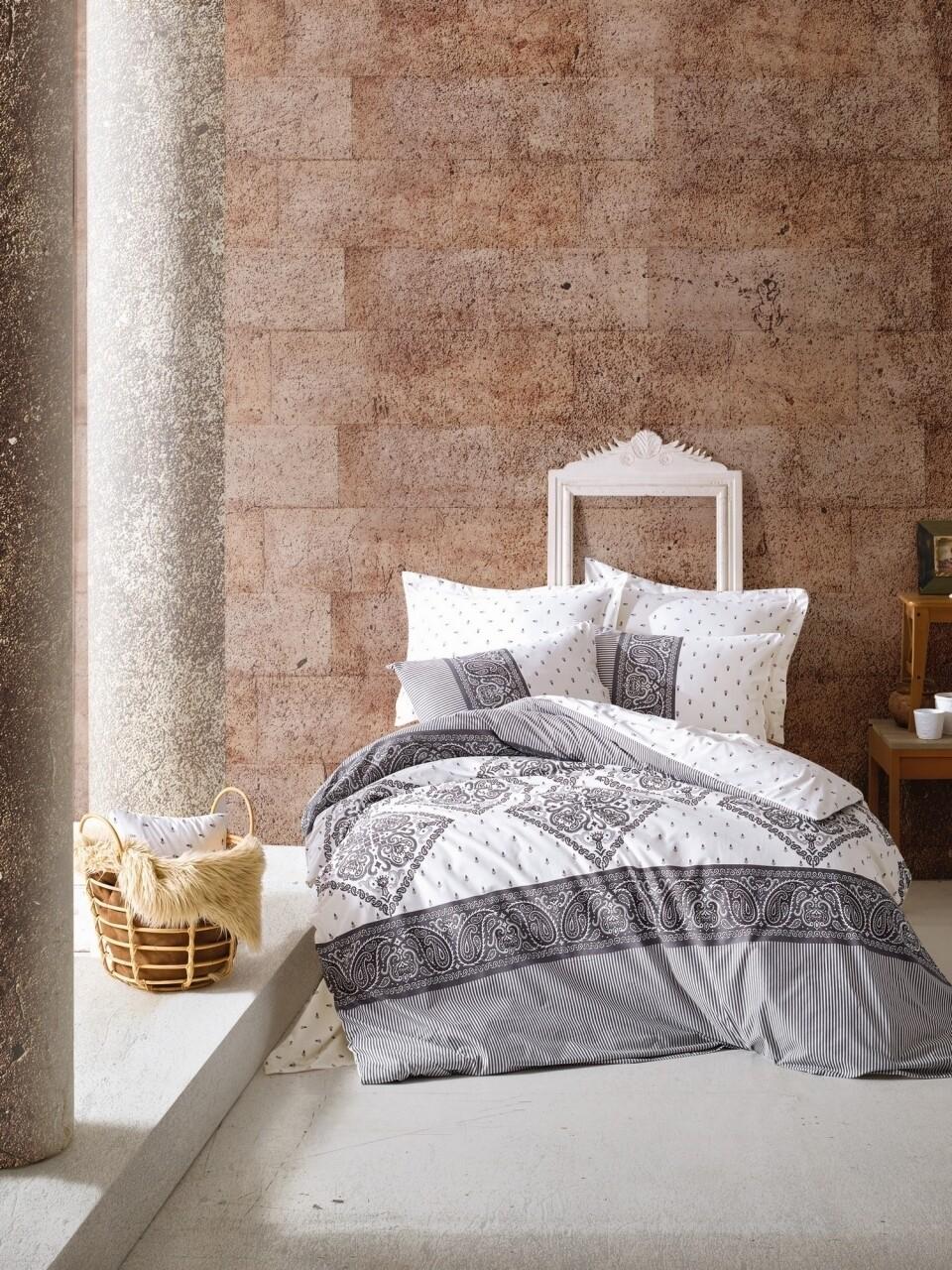 Lenjerie de pat pentru o persoana, 3 piese, 100% bumbac ranforce, Cotton Box, Alope