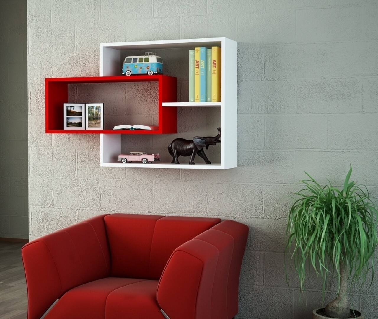 Raft pentru perete, Wooden Art, Sementha White Red, 104.1x66.2x22 cm
