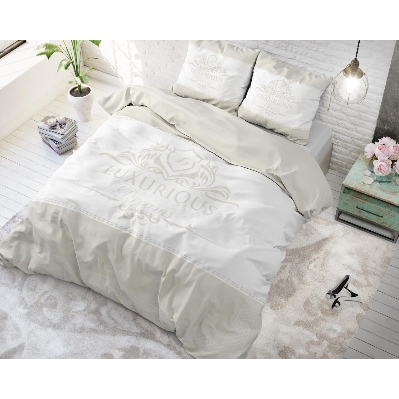 Lenjerie de pat pentru doua persoane Luxurious Cream, Royal Textile, 3 piese, 200 x 220 cm, 100% bumbac, crem