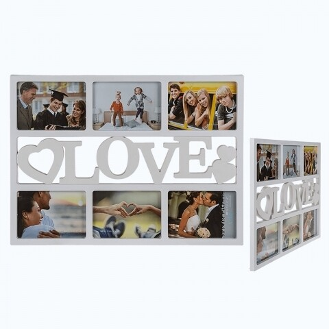 Rama foto Multi Love, Out of the Blue, 6 fotografii, 30 x 48 cm, plastic, alb