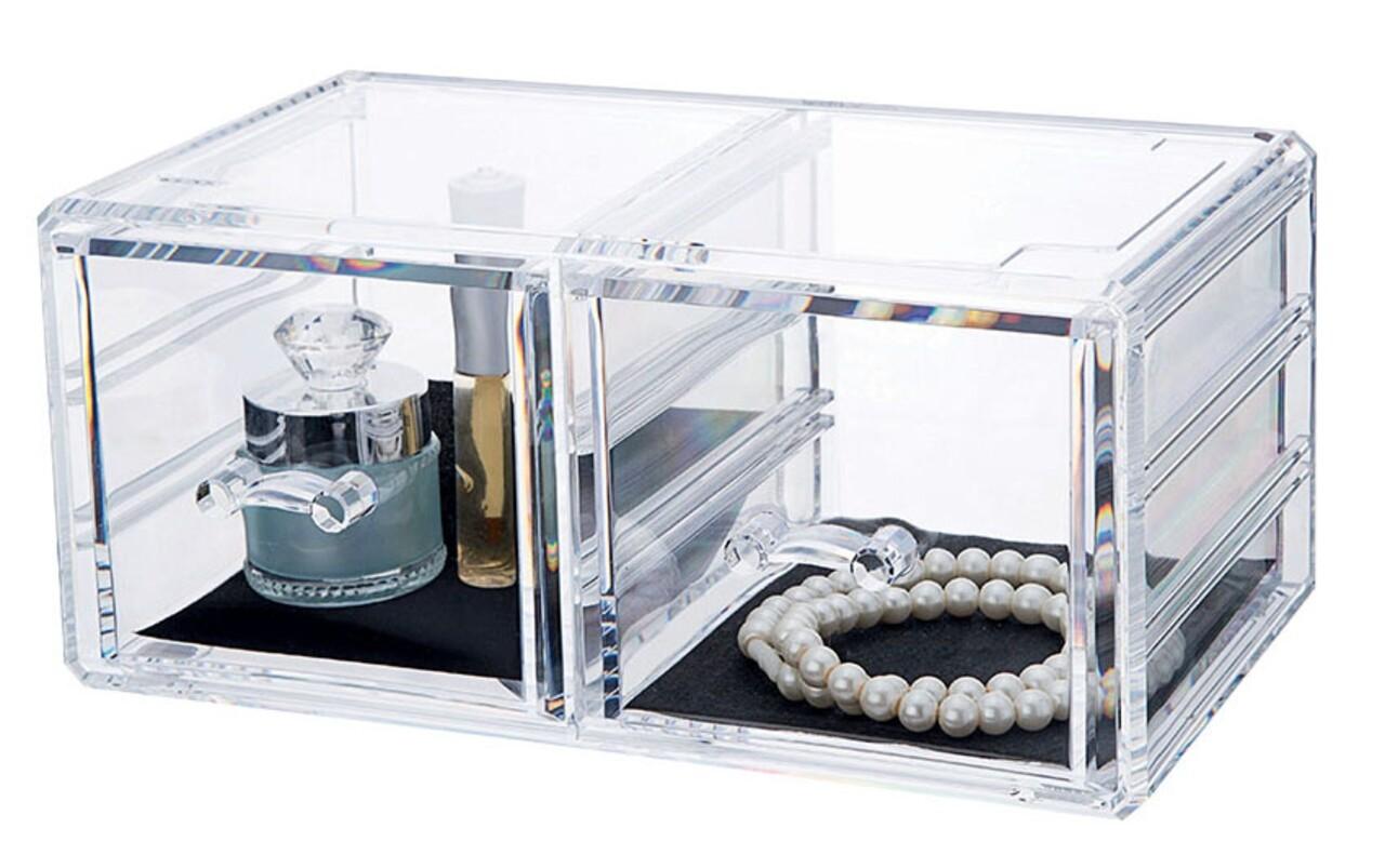 Organizator pentru bijuterii Stakable, Compactor, 2 compartimente, transparent