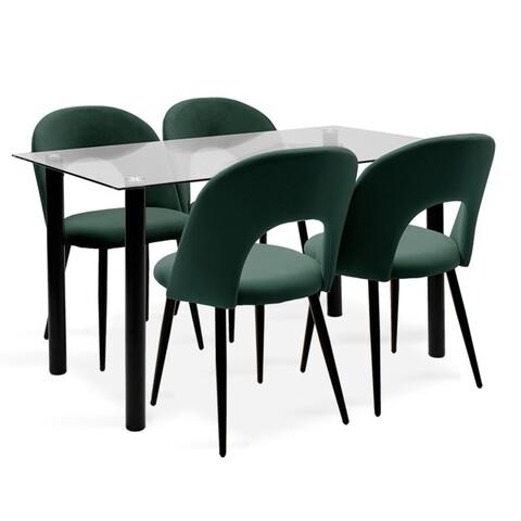 Set dining/bucatarie Hazel-Jonah Pakoworld, masa cu 4 scaune, 140x80x76 cm, metal/sticla/catifea