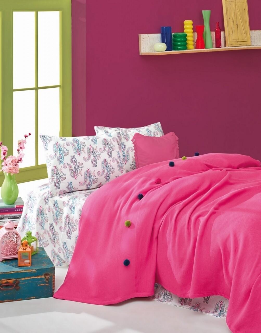 Set lenjerie de pat + cuvertura pentru o persoana Fancy Fuchsia, Cotton Box, 3 piese, 160 x 230 cm, 100% bumbac ranforce, roz
