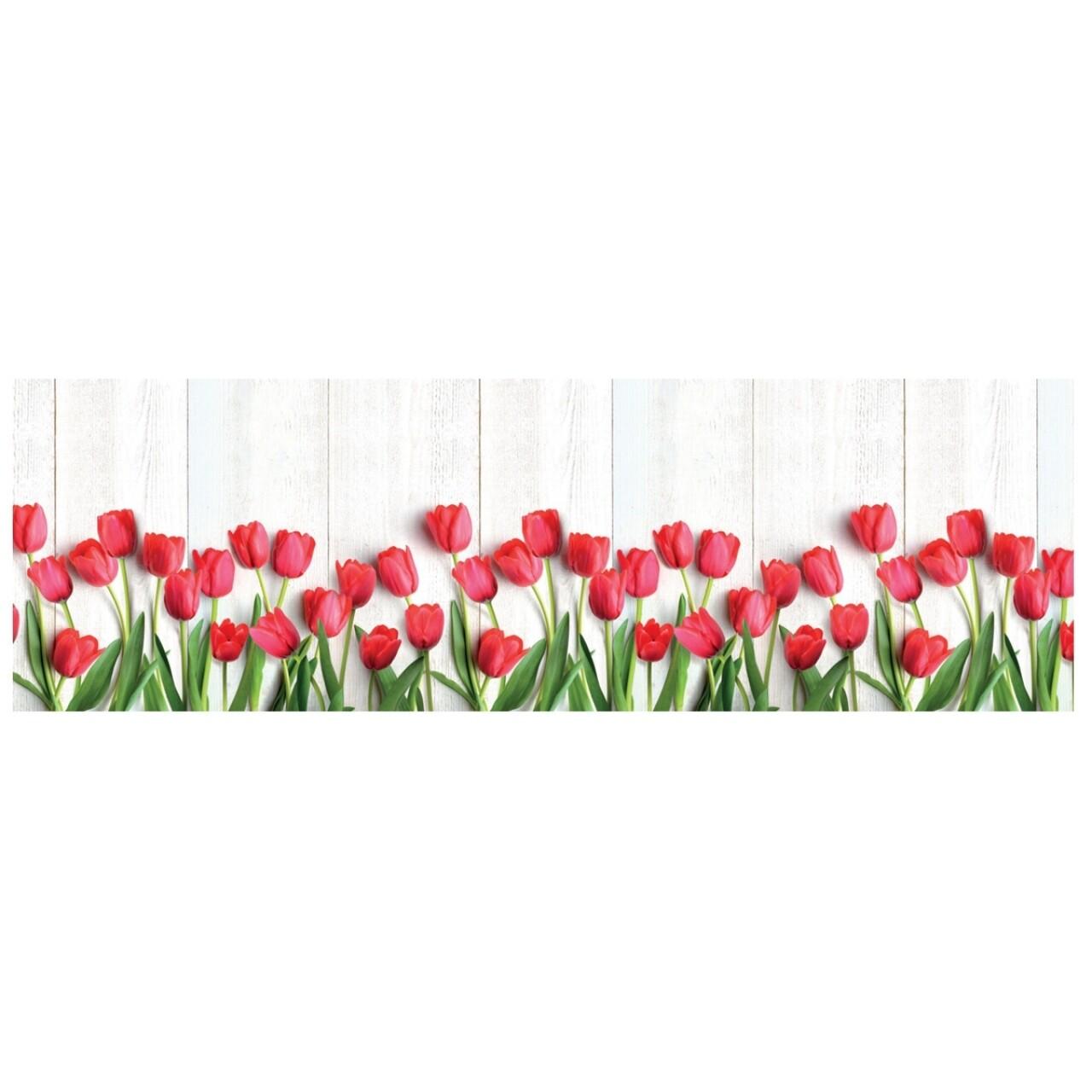 Covor rezistent Webtappeti Tulipani 58 x 115 cm, alb/verde/rosu