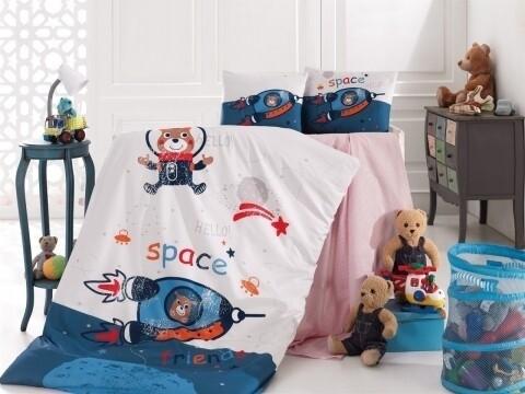 Lenjerie de pat pentru copii Space, Nazenin Home, 4 piese, 120 x 160 cm, 100% bumbac ranforce, multicolora
