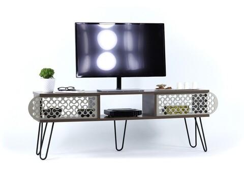Comoda TV Mingitav Illia Maxi No.4, 151 x 30 x 48 cm, PAL/metal, walnut/negru