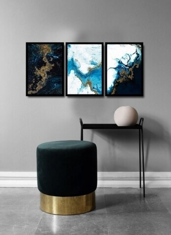Set 3 tablouri decorative, Alpha Wall, Water Shapes, 36x51 cm
