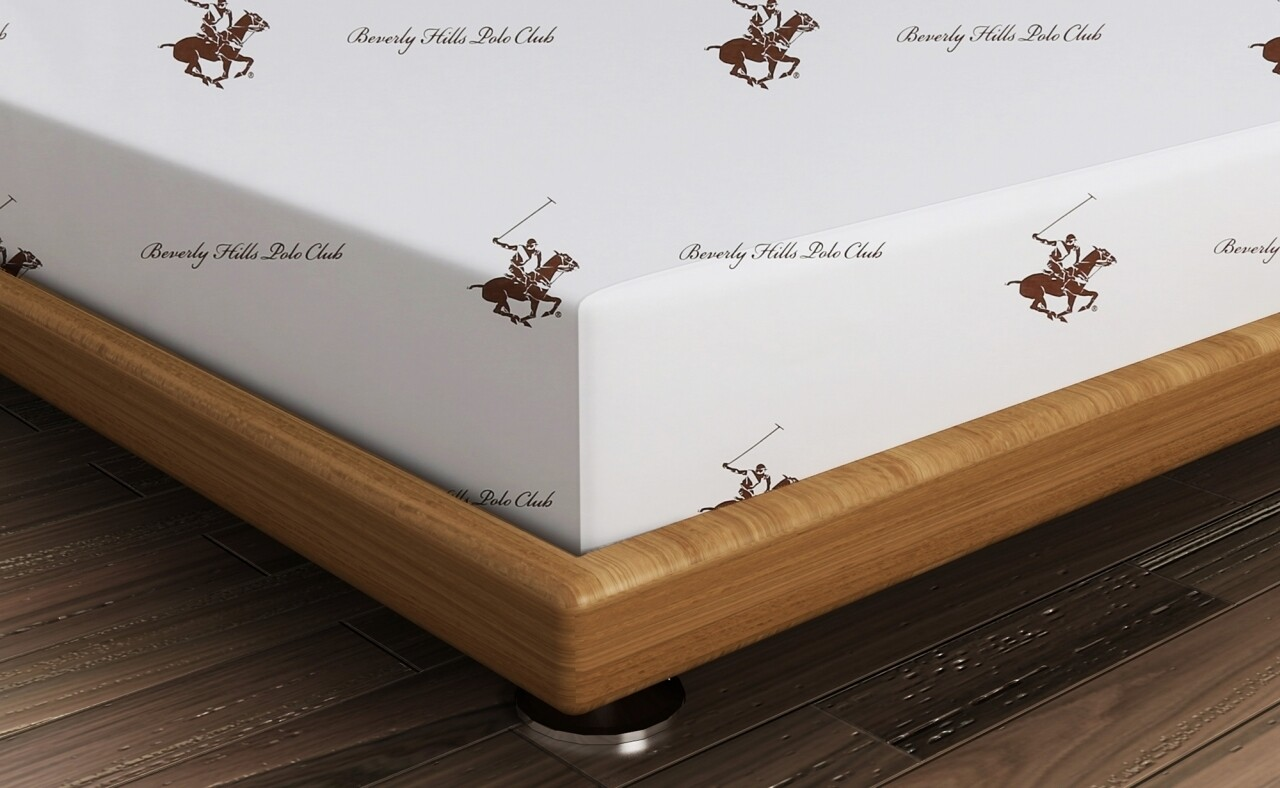 Cearceaf de pat dublu BHPC 004 - Brown, 240x260 cm, 100% bumbac ranforce, Beverly Hills Polo Club, alb/maro