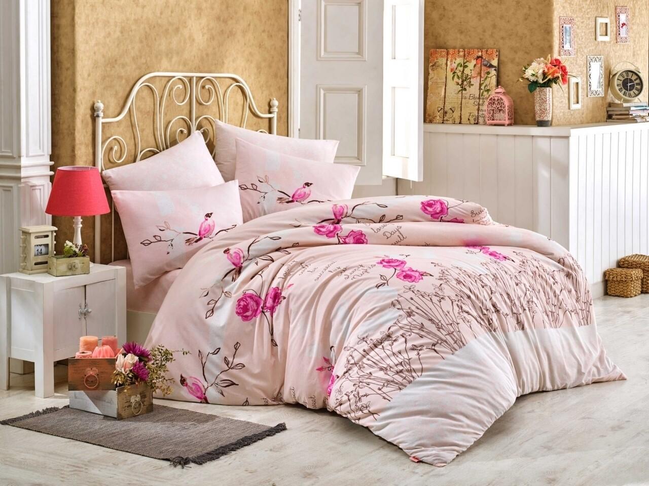 Lenjerie de pat pentru o persoana, 3 piese, 100% bumbac ranforce, Hobby, Lidia, roz