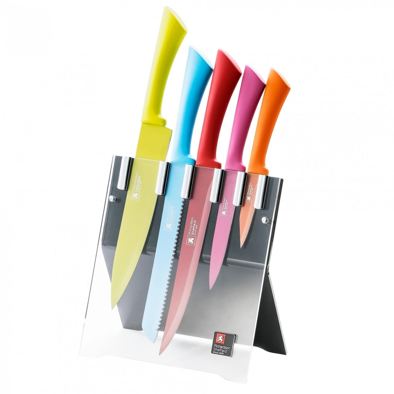 Set 5 cutite cu suport, Amefa, Love Colour, inox/plastic, multicolor