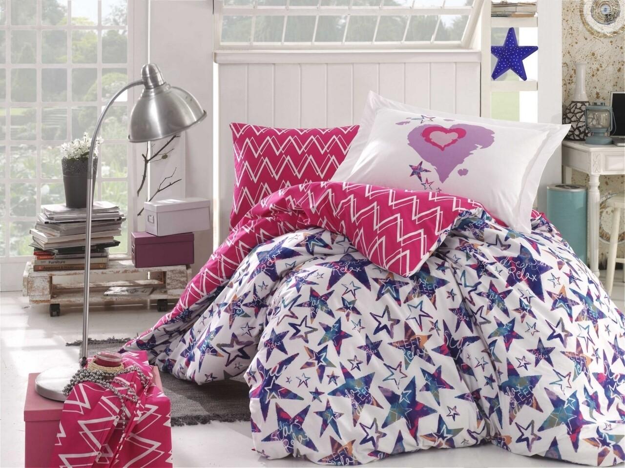 Lenjerie de pat pentru o persoana, 3 piese, 100% bumbac poplin, Hobby, Carmen Fuchsia, multicolora