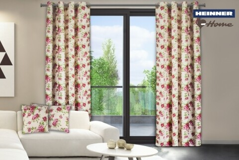 Set 2 draperii decorative, 100% bumbac, Pink Flower