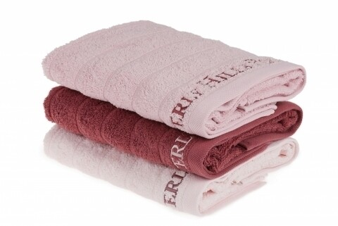 Set 3 prosoape de maini Beverly Hills Polo Club, 50x90 cm, 100% bumbac, Light Pink/Dusty Rose/Pink