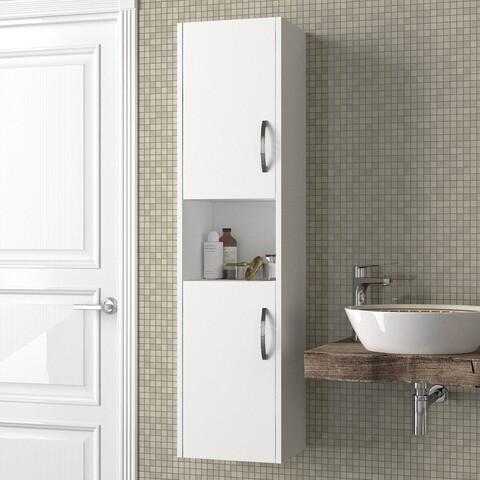 Dulap pentru baie Asma, Talon, 35 x 29.5 x 140 cm, alb