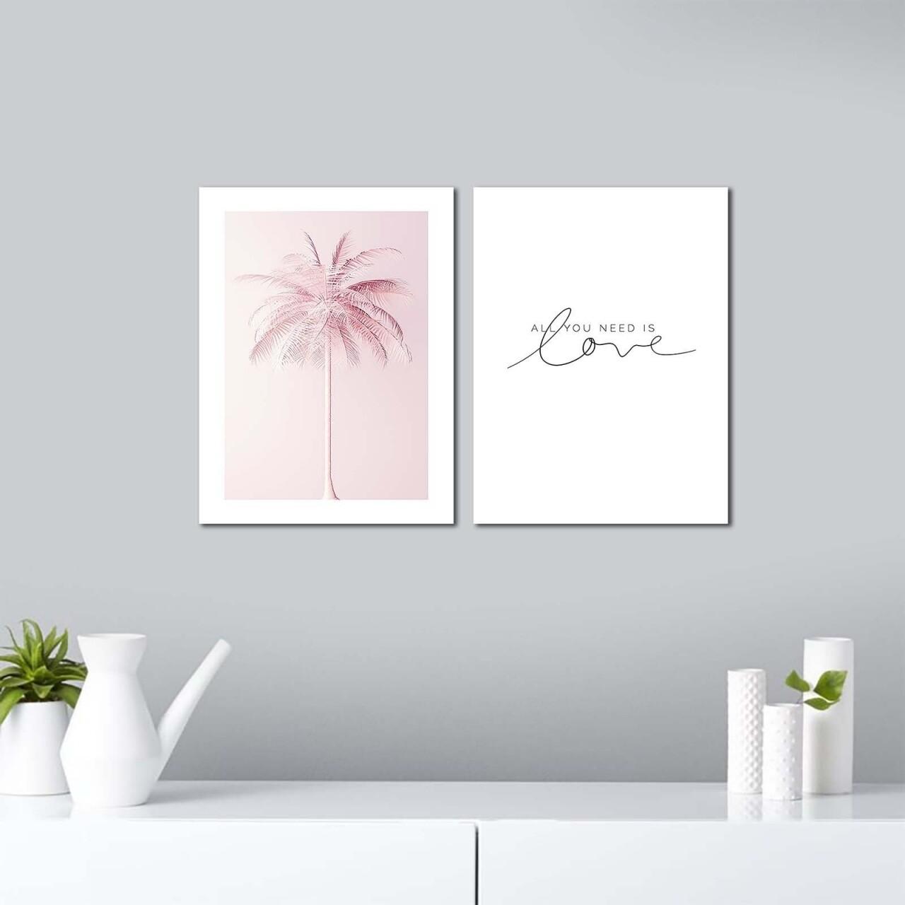 Set 2 tablouri decorative, Alpha Wall, All you need is Love