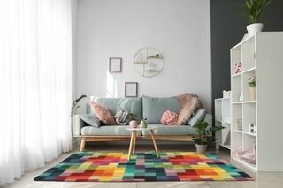 Covor Patch Bedora, 200x300 cm, 100% lana, multicolor, finisat manual