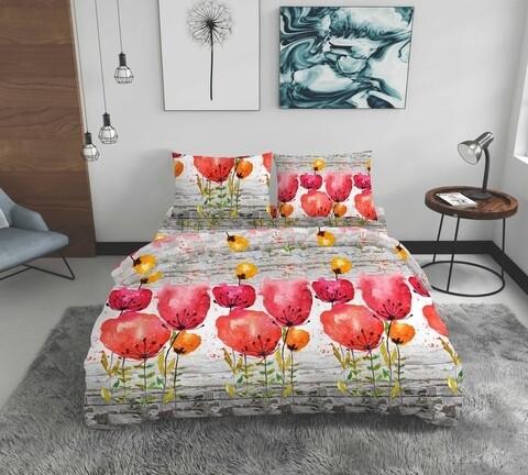 Lenjerie de pat dubla Poppies, Bedora, 4 piese, 200x220, bumbac ranforce, multicolor
