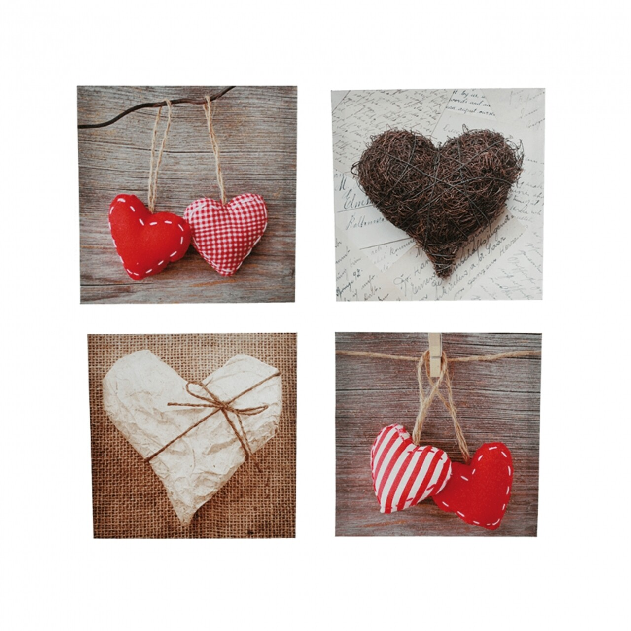 Set 4 tablouri decorative, Heart, 30x30 cm, canvas/PVC