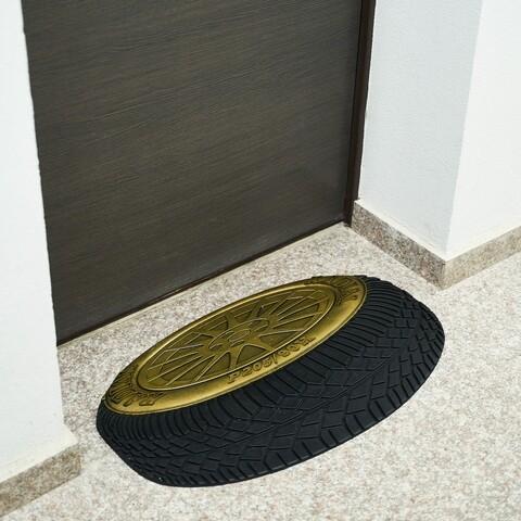 Covoras de intrare Wheel, Heinner, 40x60 cm, cauciuc, auriu