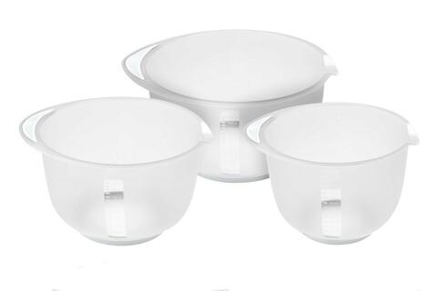 Set 3 boluri Excellent Houseware, 1.5 l/ 2 l/ 2.5 l, transparent, alb