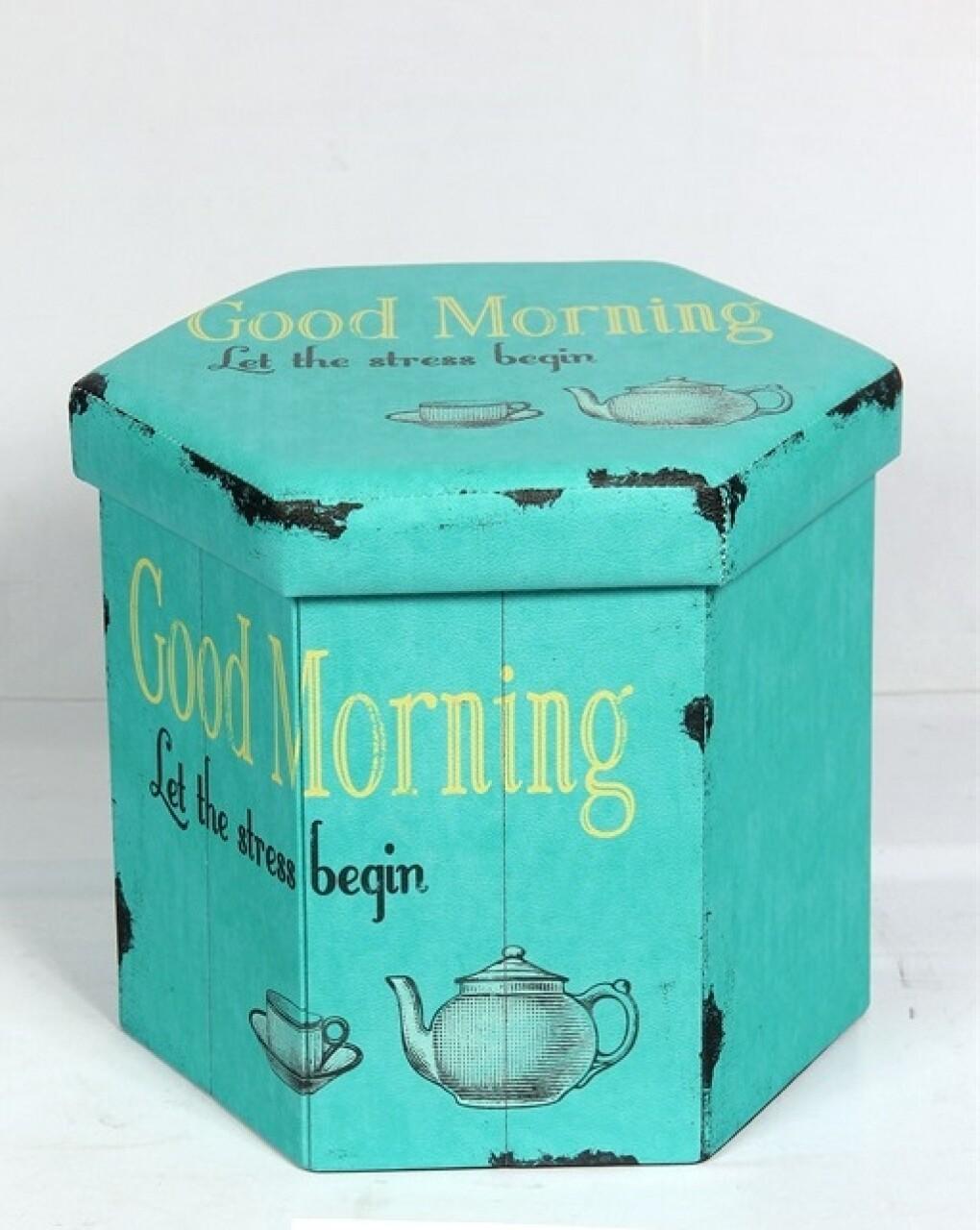 Taburet pliabil cu spatiu de depozitare Tea, Heinner Home, 38 x 38 x 43 cm, PVC, turcoaz