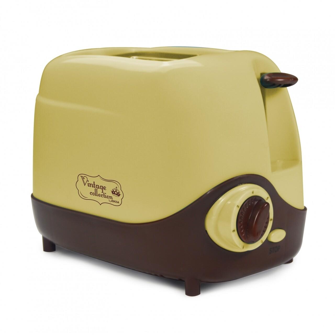 Prajitor de pâine Vintage Cream Jocca, 600-700W, 16 x 18 x 26 cm, galben/maro