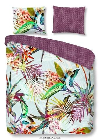 Lenjerie de pat pentru doua persoane, Good Morning Helena, 100% bumbac, 3 piese, multicolora